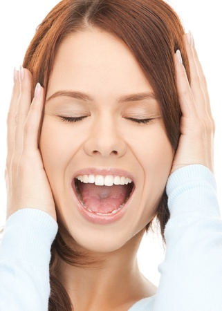 picture of woman with hands on ears Stock Photo - 12362155