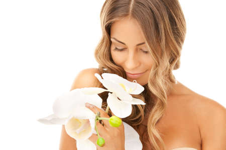 smooth skin: picture of beautiful woman with orchid flower