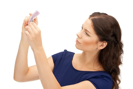 picture of lovely woman with euro cash money photo
