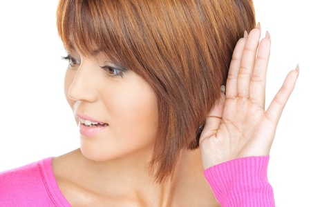 blab: bright picture of young woman listening gossip Stock Photo