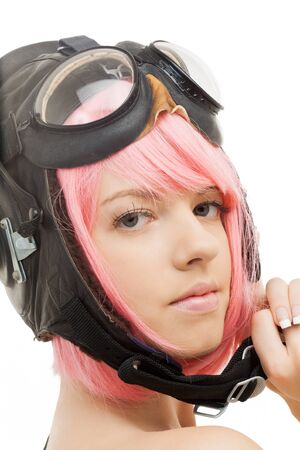 picture of pink hair girl in aviator helmet Stock Photo - 12362330