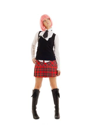 pin-up image of lovely schoolgirl with pink hair photo