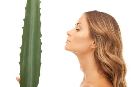 picture of lovely woman with aloe vera Stock Photo - 12362325