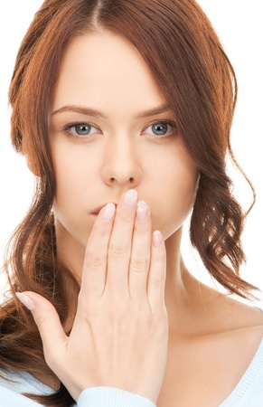 bruit: bright closeup picture of woman with hand over mouth