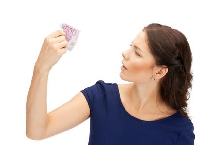 dinero falso: Foto de mujer hermosa con dinero efectivo en euros Foto de archivo