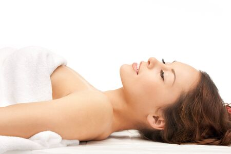 pampered: picture of beautiful woman beautiful woman in spa salon