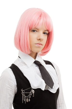 20s  closeup: closeup image of lovely schoolgirl with pink hair
