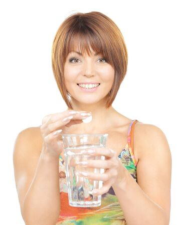 safe drinking water: picture of woman with pill and glass of water