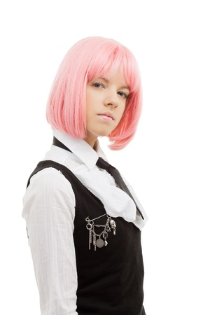 closeup image of lovely schoolgirl with pink hair Stock Photo - 12373424
