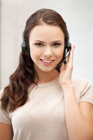 call center agent: bright picture of friendly female helpline operator