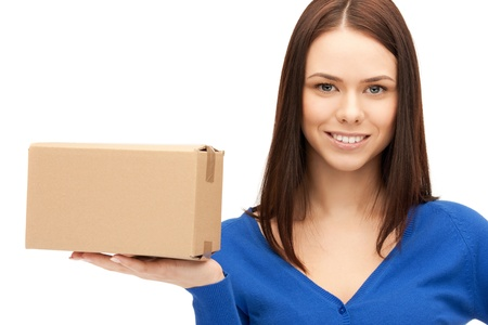 package: picture of attractive businesswoman with cardboard box