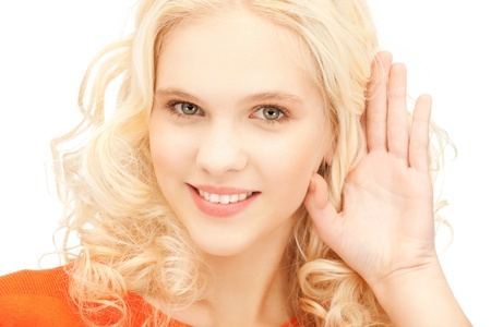 bright picture of young woman listening gossip photo