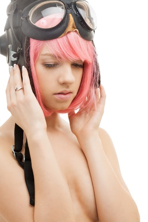 picture of pink hair girl in aviator helmet photo