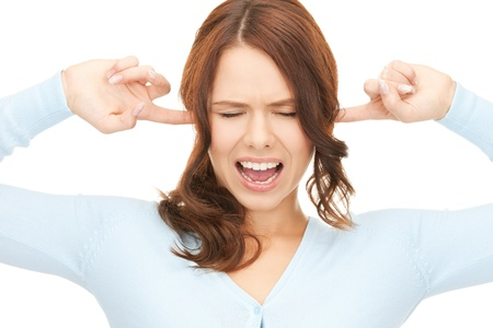 picture of woman with fingers in ears  Stock Photo - 12424355