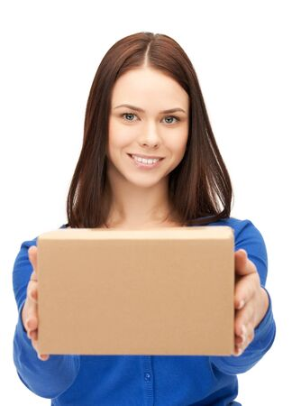 postal office: picture of attractive businesswoman with cardboard box