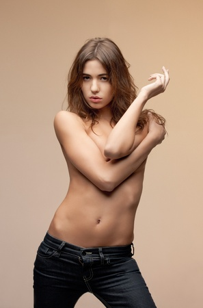topless jeans: picture of beautiful topless woman in jeans Stock Photo