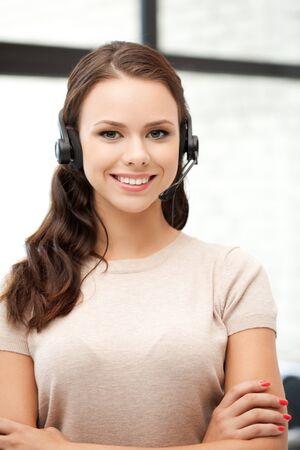 helpline: bright picture of friendly female helpline operator