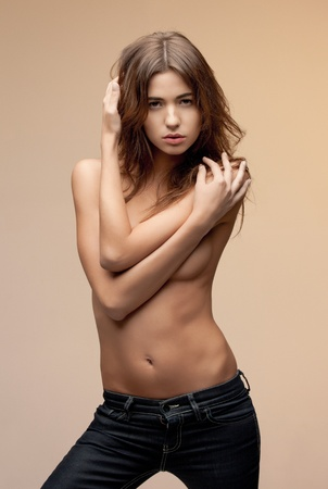 picture of beautiful topless woman in jeans Stock Photo - 12460866