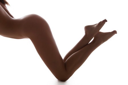 nude back: picture of long legs and naked back