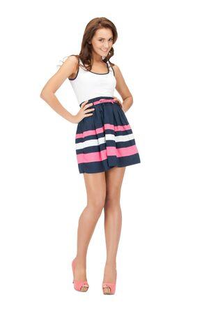 leggy girl: bright picture of lovely woman in elegant dress Stock Photo
