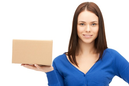 delivery service: picture of attractive businesswoman with cardboard box