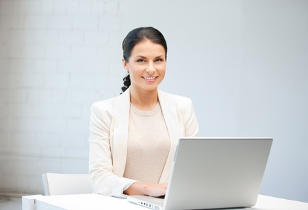 woman laptop: picture of happy woman with laptop computer