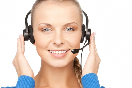 bright picture of friendly female helpline operator Stock Photo - 12629853