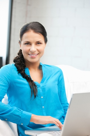 picture of happy woman with laptop computer Stock Photo - 12658704