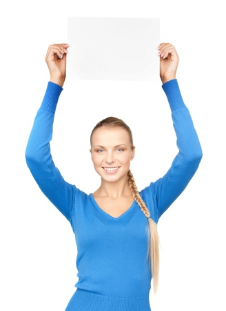 bright picture of confident woman with blank board Stock Photo - 12658571