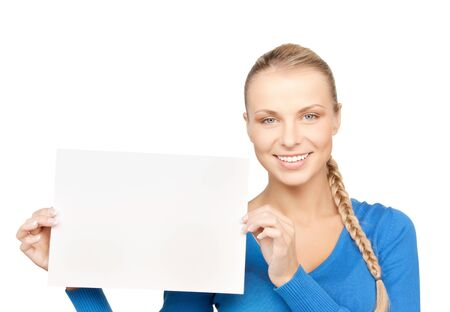 bright picture of confident woman with blank board Stock Photo - 12658574
