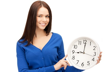 oclock: bright picture of woman holding big clock