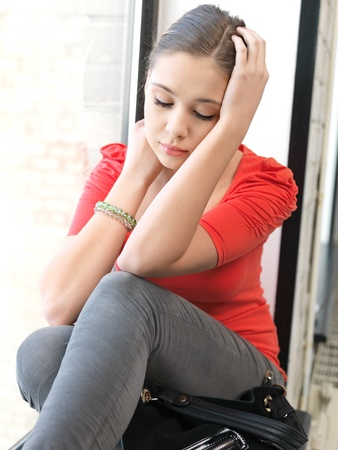 indoors: bright indoors picture of calm teenage girl