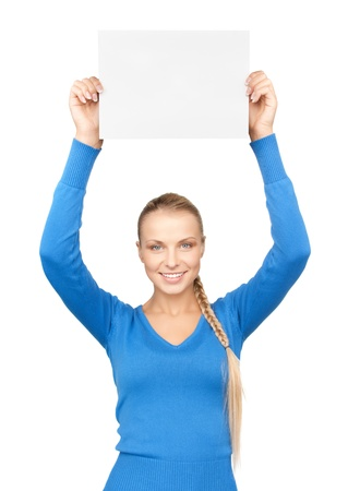 bright picture of confident woman with blank board Stock Photo - 12838570