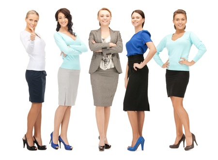 gorgeous businesswoman: bright picture of happy and smiling business team Stock Photo