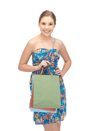 picture of teenage girl with shopping bags photo