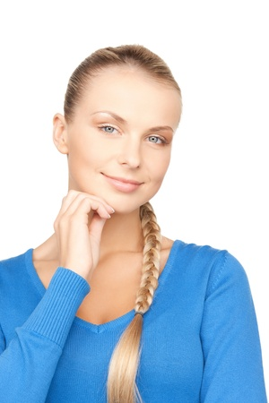 business dilemma: bright closeup picture of beautiful pensive woman