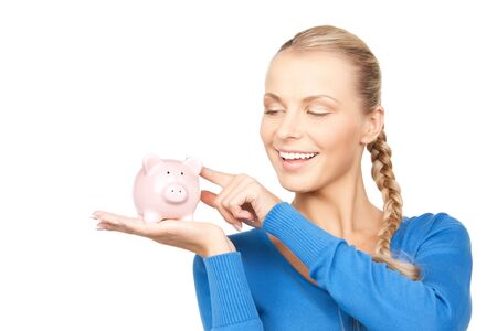 picture of lovely woman with piggy bank Stock Photo - 12883818