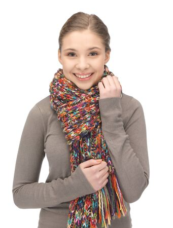 bright picture of beautiful woman in muffler Stock Photo - 12971264