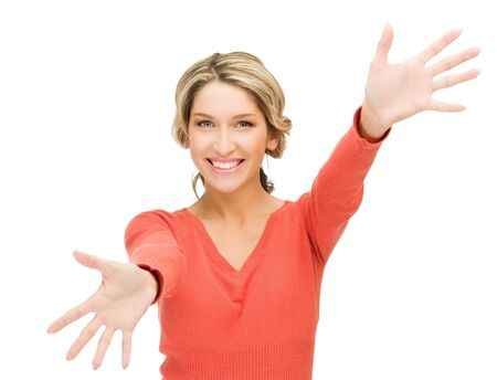 bright picture of happy woman showing her palms Stock Photo - 12971355