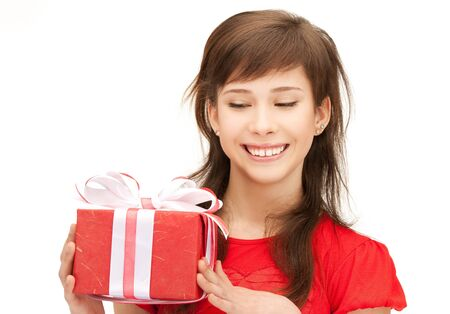 picture of happy teenage girl with gift box Stock Photo - 12971348