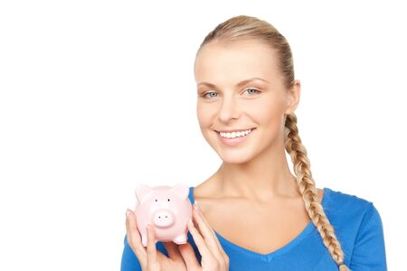 picture of lovely woman with piggy bank Stock Photo - 12971327