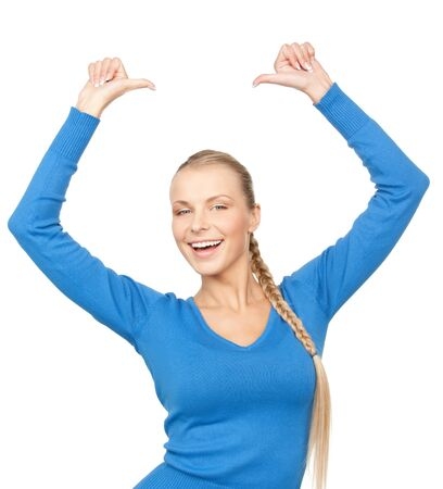 bright picture of lovely teenage girl with thumbs up Stock Photo - 12971329