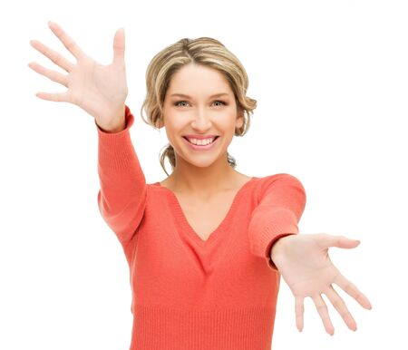 euphoric: bright picture of happy woman showing her palms
