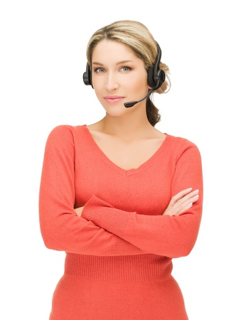 bright picture of friendly female helpline operator Stock Photo - 13042605