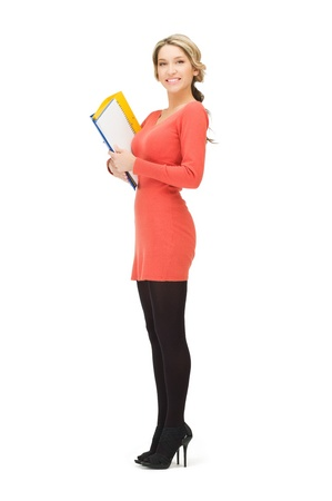 bright picture of beautiful woman with folders Standard-Bild
