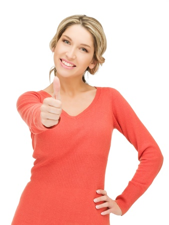 thumbs up woman: bright picture of lovely teenage girl with thumbs up Stock Photo