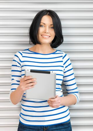 picture of happy woman with tablet pc computer Stock Photo - 13399364