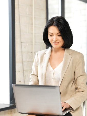 picture of happy woman with laptop computer Stock Photo - 13401517