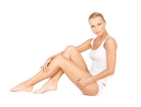 body shape: immagine della bella donna in cotone undrewear Archivio Fotografico