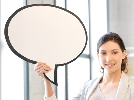 bubble people: bright picture of smiling businesswoman with blank text bubble Stock Photo